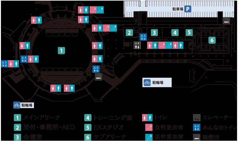 西原商会アリーナ(鹿児島アリーナ)1階 フロアマップ