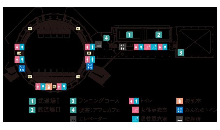 西原商会アリーナ(鹿児島アリーナ)2階 フロアマップ